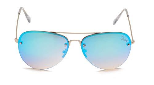 Desire SunnySky - Gafas de sol de aviador (PET reciclado, UV400, efecto espejo, unisex, lentes azules)