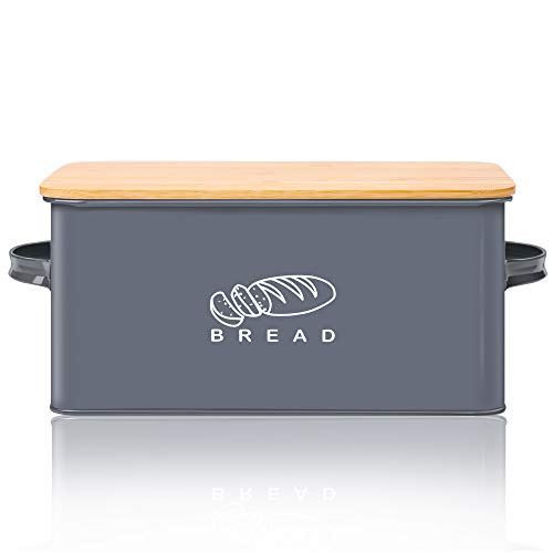 Bread Box for Kitchen, GA Homefavor Bread Bin, Bread Holder with Bamboo Lid, 11.56'6.7'5.5', Grey