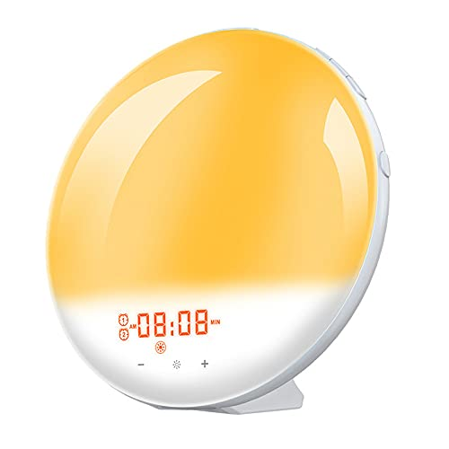 Kaxofang Luz de Despertador, Reloj Despertador Inteligente de Amanecer con Radio FM de 7 Colores, Reloj de Luz Nocturna Digital para Alexa Home, Enchufe de la UE
