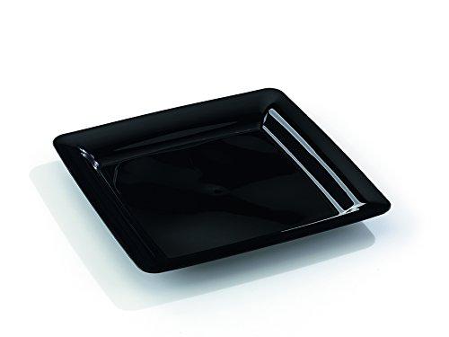 MOZAIK 20 platos cuadrados de plástico de 23cm en color neg