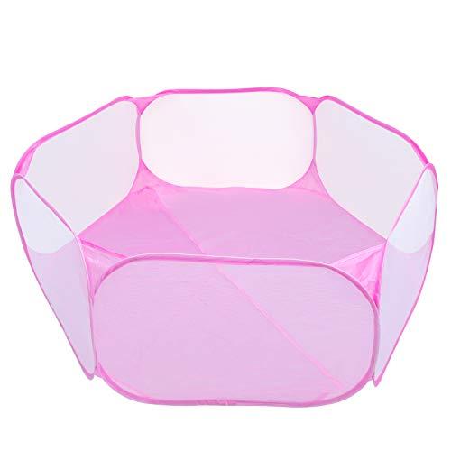 Coolty Kleintier-Laufstall, Pop-Up Faltbares Kleintierkäfigzelt, atmungsaktiver transparenter Übungszaun für Meerschweinchen, Kaninchen, Hamster, Chinchillas und Igel (Rosa)