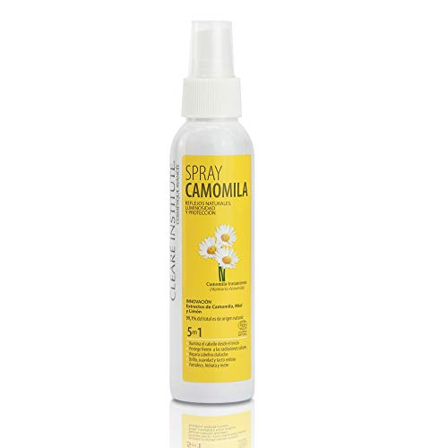 Clearé Institute Spray Camomila - Brillo, suavidad y Tacto Sedoso | Reflejos Dorados Naturales | 99% Ingredientes Naturales | Repara Cabello Dañado | Con Extracto de Camomila, Limón y Miel - 125ml