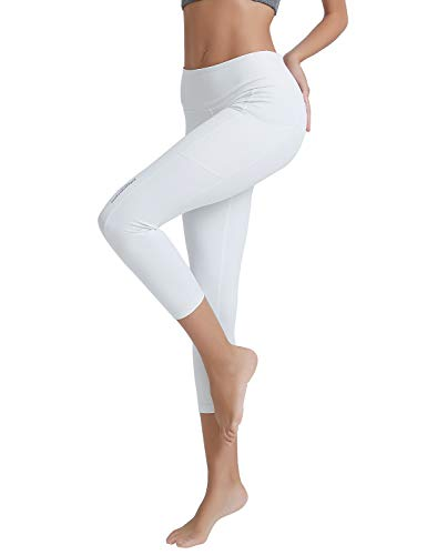 COOLOMG Damen Shorts Leggings Caprihose Yoga Sport Training Fitness mit Taschen ,Weiß (capri),S