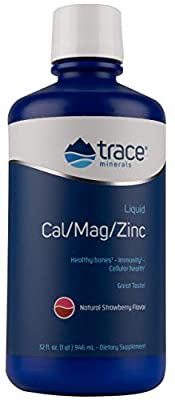 Trace Minerals Research Cal/Mag/Zinc, Strawberry, 32-Ounce