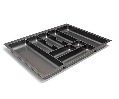 Besteckeinsatz Schubladeneinsatz Besteckkasten Comfort Universal | für 70er Schubladen | zuschneidbar von 610-660 mm | Silbergrau