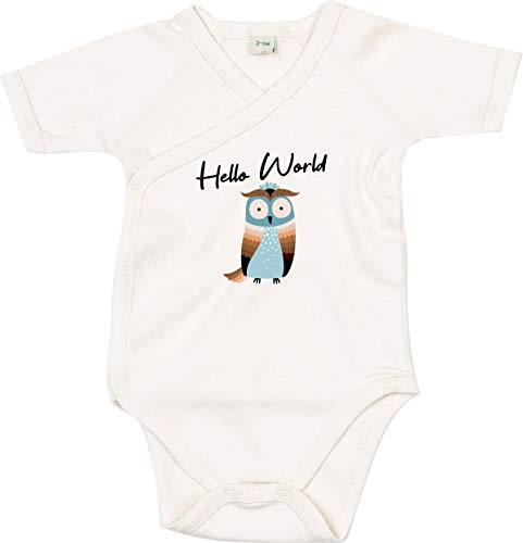 Kleckerliese Body per bambini, con scritte, motivo Hello World, animali, gufo neutro 0-3 Mesi