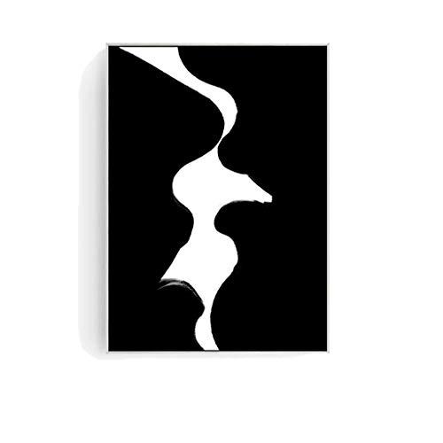 Skulptur Statue Moderne Moderne Wohnzimmer-Dekorations-Malerei-kreative Individualität-Schlafzimmer-Nachttisch-Hintergrund-hängende Malerei-abstrakte Schwarzweiss-Kunst (Color : D)