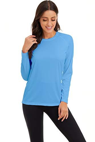 GOLDPKF Frühling Sommer Kleidung für Rash Guard Frauen 2020 Laufen Wandern Crewneck Tops Sun Block Shirts Leichte Langarm Sweatshirt T Shirt Blau Large