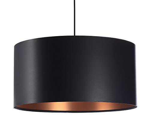 BPS Koncept Glamour E27 Laximi - Lámpara colgante (40 cm), color negro y cobre