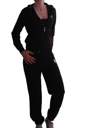 EyeCatch - All Star Damen Trainingsanzug Jogginganzug mit Kapuze schwarz, Gr. L