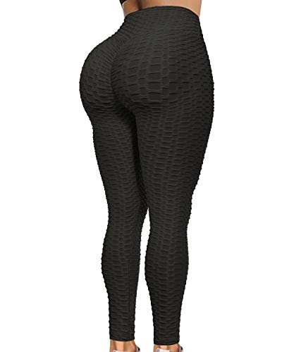 Women's Butt Lift Workout Leggings High Waist Yoga Pants Textured Running Sexy Tights Tummy Control Slimming Black