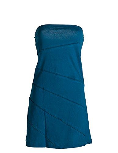 Vishes - Alternative Bekleidung - Mini Sommerkleid im Patchworkdesign aus leichtem Baumwolljersey türkis 44/46
