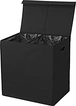 SimpleHouseware Double Laundry Hamper with Lid and Removable Laundry Bags Black