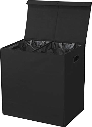 Simple Houseware Double Laundry Hamper with Lid and Removable Laundry Bags, Black