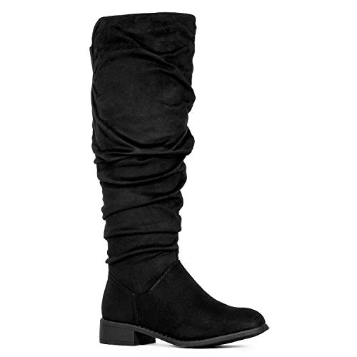 Women's Slouchy Pull On Low Block Heel Knee High Boots (Medium Calf) Navy SU (11)