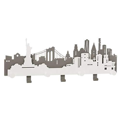 Arti & Mestieri N.Y.C. - Appendiabiti da Parete di Design 100% Made in Italy - in Ferro, 78 x 30 cm - Ardesia e Bianco Marmo