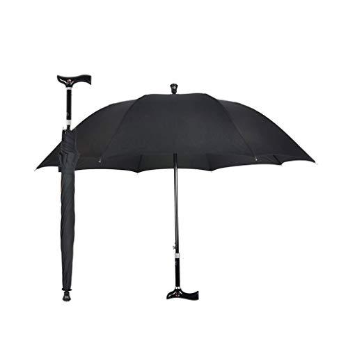 Tragbarer Verstellbarer Regenschirm Anti-Rutsch-Bergsteiger-Design Älterer Stockschirm Sonnenschirm (Color : Black)