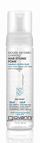 GIOVANNI Mousse Air-Turbo Charged Hair Styling Foam, 7 oz. , Lightweight for Natural Curls, Medium to Firm Hold, Wash & Go, No Parabens, Color Safe (Pack of 3)