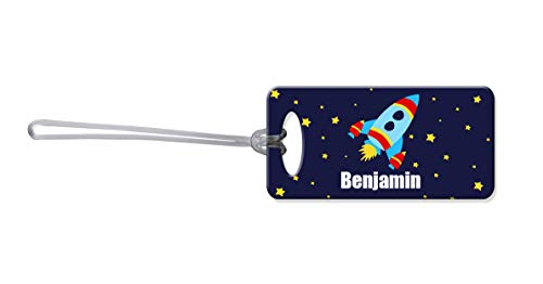 Dinkleboo Rocketship Personalized Kid's Luggage Tags Cool Kid's Bag Tags are a Perfect Addition to Any School Backpack, Travel, Sport, or Sleepover Bag!