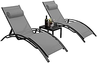 Pirecart Patio Chaise Lounge Chair Set of 3, Adjustable All-Weather Pool Lounger, Outside Aluminum Tanning Reclining Deck Chair, w/Armrest, Pillow, Side Table, for Garden, Yard, Lawn, Poolside, Beach