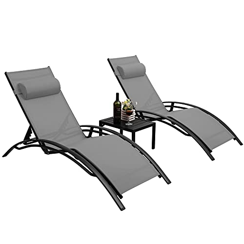 Pirecart Patio Chaise Lounge Chair Set of 3, All-Weather Aluminum Pool Lounger Furniture, Outside Adjustable Tanning Reclining Chair, w/Arm, Pillows, Side Table, for Garden, Yard, Beach, Lawn