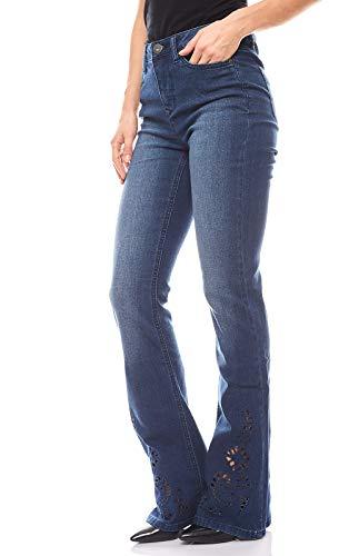 Arizona ausgestellte Bootcut Hose Jeans mit Lochstickerei Denim Blau, Größenauswahl:38