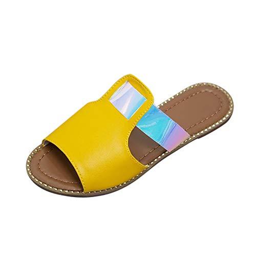 DAIFINEY Damen Slippers Hausschuhe Bequeme Flache Beach Strandsandale Badezimmer Fitnessraum Indoor weiche Sohle rutschfest Schnelltrocknend(2-Gelb/Yellow,37)