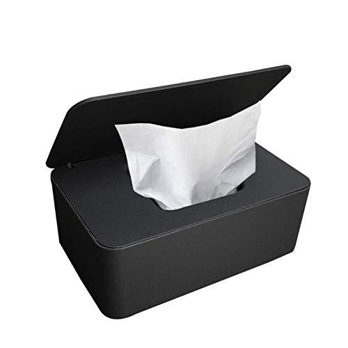 Feuchttücher-Box,Toilettenpapier Box,Kunststoff Feuchttücher Spender,Baby Feuchttücherbox,Baby Tücher Fall,Tissue Aufbewahrungskoffer,Taschentuchhalter,Tücherbox,Serviettenbox (Schwarz)