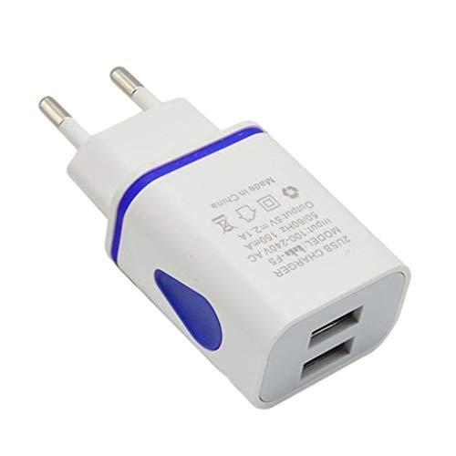lorjoy USB Cargador de Pared Doble Puerto 2A Salida del Recorrido del Enchufe Adaptador de alimentación Compatible para el teléfono Enchufe de la UE (5 * 5 * 5cm, Blue)