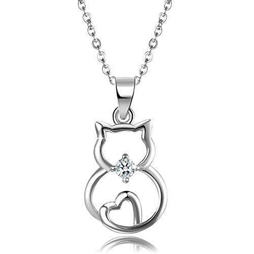 Aroncent Kette Damen Herz Katze Halskette Anhänger 925 Sterling Silber Zirkonia Katze Schmuck Valentinstag Geschenk für Frau Mädchen