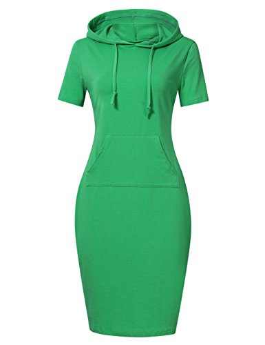 MISSKY Women Short Sleeve Pullover Stripe Keen Length Hoodie Dress with Kangaroo Pocket for Causal for Spring Autumn Summer, Medium, Green(Short Sleeve)