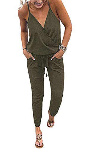 ECOWISH Women's V Neck Spaghetti Strap Drawstring Waisted Long Pants Jumpsuit Rompers Green Small
