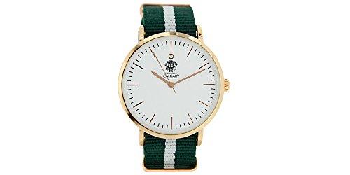 Relojes Calgary San Marine Vintage. Reloj Vintage para Mujer, Correa de Tela Verde y Blanco, Esfera Blanca