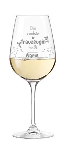 KS Laserdesign Leonardo Weinglas mit Spruch '' die coolste Trauzeugin heißt '' persönliche Gravur - Wunschname wählbar, Geschenkidee, Hochzeit, Trauzeugin