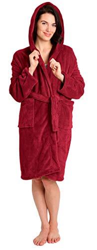 Pembrook Ladies Robe with Hood - Fleece – Dark Red - Size L/XL – Spa Bathrobe Women, Girls