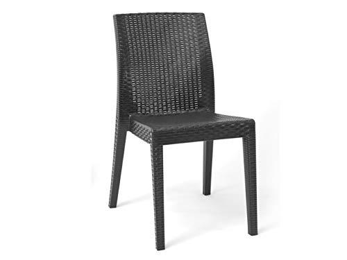 EURONOVITA' SRL ITALY EN-224559 Set 4 pz Poltrona Sedia sedie per Interno o Esterno in Dura Resina Simil Rattan Vimini Antracite,Ideale per Giardino, Bar, Ristorante, Pizzeria