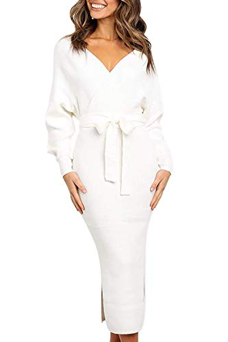 Fixmatti Womens Knitted Batwing Long Sleeve Deep V Neck Backless Belted Wrap Bodycon Sweater Dress White XL