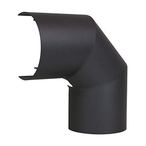 LANZZAS Rauchrohr Ofenrohr Kaminrohr Hitzeschutzschild Thermoschild für Bogen 90° seitlich Ø 130 mm grau