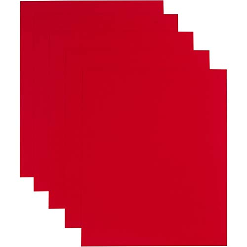Handy Crafts Heat Transfer Vinyl HTV Iron On 12 x 10 Sheets for T-Shirts - Pack of 5 (Red) | Compatible with Silhouette Cameo or Cricut and Heat Press