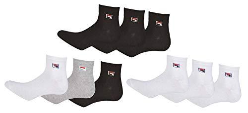 FILA Quarter Sneaker Socken 12 Paar Weiß Grau Schwarz Herren Damen Bunt F9303, Farbe:Grau. Schwarz. Weiß, Socken Neu:39-42