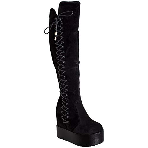 Generation Y Womens Knee High Boots Corset Lace Up Platform Wedge Shoes Flatforms Black SZ 9
