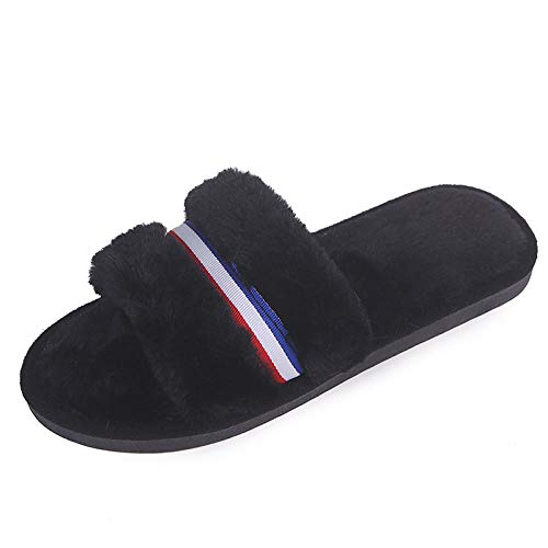ENLAZY Zapatillas de Felpa Confort Winter Relax para Mujer Zapatillas de Espuma viscoelástica Zapatillas Antideslizantes para Animales Zapatillas de casa,Negro,40