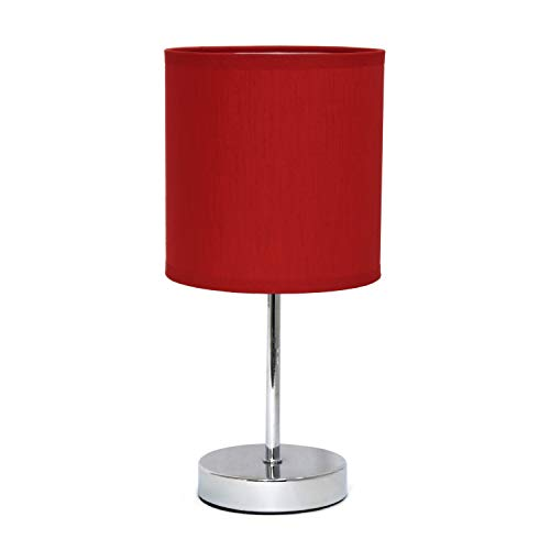 Simple Designs Mini lámpara Básica Cromada con Sombra de Tela Rojo