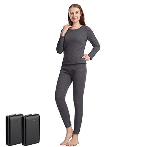 Conjunto Térmico Mujer Ropa Interior Termica con Calefacción, Gris USB con Calefacción Eléctrica, Trajes Deportivos De Invierno (Incluye 2 Baterías Externas 10000mAh Grey Suit-L