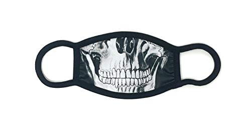 Dilara Maske Totenkopf Skull mit Aufdruck in Schwarz aus Baumwolle - Stoffmaske mit Totenkopf halb Gesicht Motiv hergestellt (Totenkopf Skull)