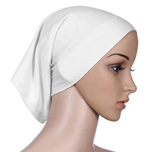 Guangcailun Mujeres Pañuelo de Cabeza elástica Sudor Absorbente algodón Underscarf Tubo con tapón de Hijab