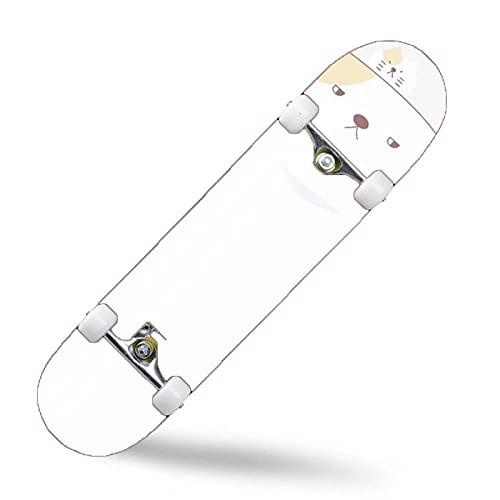 ZASX Tabla Completa de Skate de 31 x 8 Pulgadas, con rodamientos de Bolas ABEC-7,Gato Gordo grandeMadera de Arce de 8 Capas Adecuada para niños, Adolescentes y Adultos, con un Peso de 150 kg.