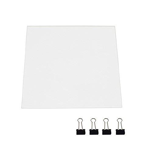 3D Printer Glass Bed Upgraded Borosilicate Glass Build Plate for Creality CR-10 CR-10S Flat Printing Surface Tempered Glass Replacement Upgraded 3D Printer Platform 310x310x3mm with 4 Glass Clips