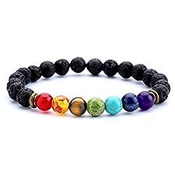 UK Natural Square Round Beads Chakra Gemstone Wristband Bangle Bracelet Unisex