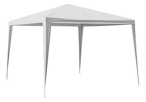 Posten Anker Pavillon 3 x 3 Meter Weiss mit Stahl-Gestänge | Partyzelt mit PE Plane | Unterstand Garten wasserdicht